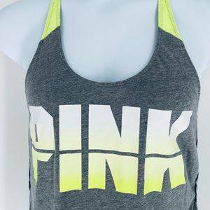 Pink Victoria's Secret Tank Size Medium Gray Neon